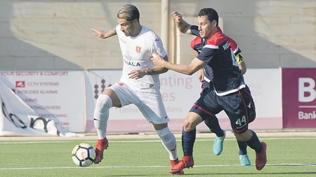 Rowen Muscat charges forward for Valletta against Zrinskji. Photo: Mark Zammit Cordina