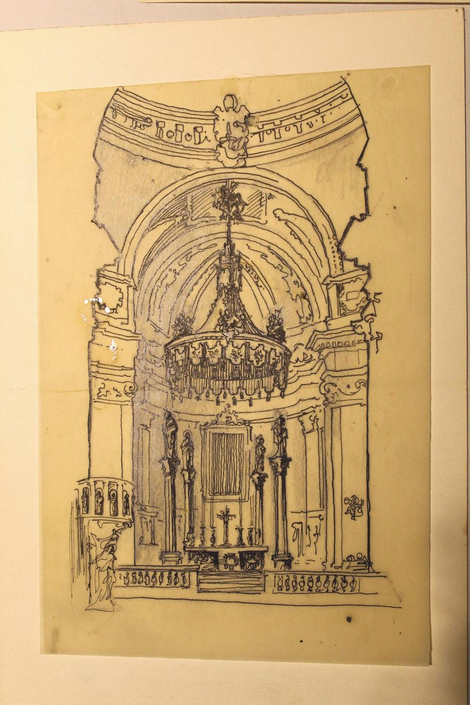 A drawing of the interior of Nadur parish church. Photo: Malta Postal Museum