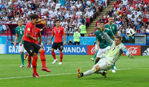 South Korea grab their first of two. Photo: Reuters