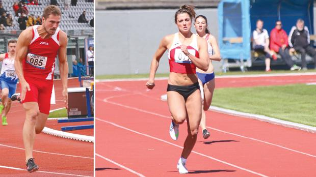 Kevin Moore. Right: Charlotte Wingfield winning the 200m race in Iceland.