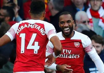 Watch: Lacazette, Aubameyang help Arsenal edge past Everton