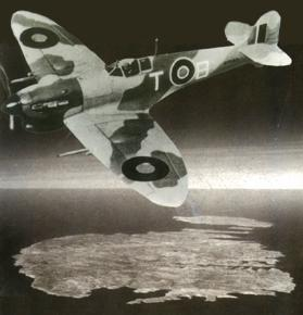 A 249A squadron Spitfire Vc soaring high above the Maltese islands. Photo: 249 at Malta, Brian and Frederick Galea
