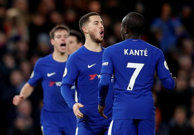 Chelsea's Eden Hazard celebrates scoring their third goal with N'Golo Kante.