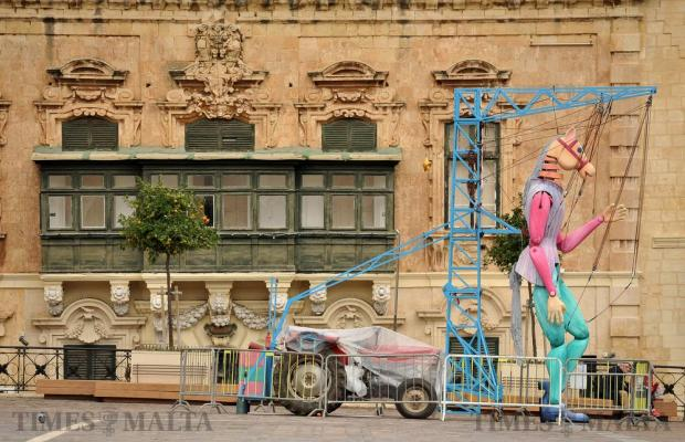 An effigy of a horse held up by a crane forming part of the Ziguzajg festival in St George's Square in Valletta on November 16. Photo: Chris Sant Fournier
