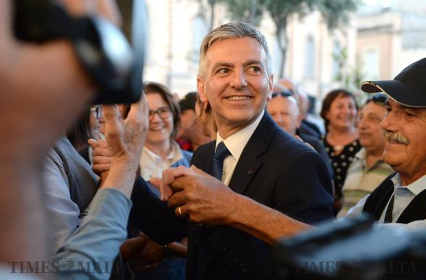 PN Leader Simon Busuttil arrives at a rally in Zejtun on May 9. Photo: Matthew Mirabelli