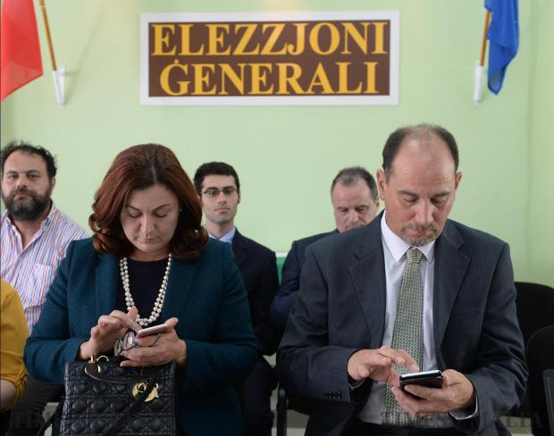 Godfrey Farrugia waits to submit his nomination to contest the general election under the Partit Demokratiku banner, just hours after quitting the Labour Party, he was accompanied by his partner and leader of the party Marlene Farrugia at the counting hall in Naxxar on May 13. Photo: Matthew Mirabelli