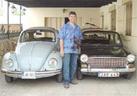 Lino Grech with two of his prized possessions. Photo: Stuart Abela - Old Motors Club.
