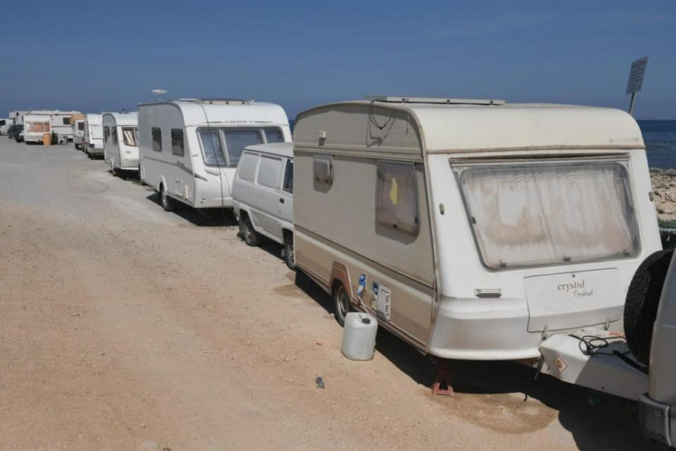 Caravans parked at Għallis mean others can't access the area. Photo: Matthew Mirabelli