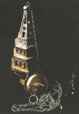 A late 14th-century thurible of unique Gothic design.