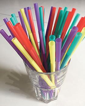Single-use plastics, such as straws, are usually thrown away after one use.