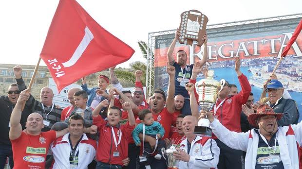 The jubilant Marsa oarsmen and club officials proudly displaying the Freedom Day Shield at the end of competition. Photos:Matthew Mirabelli
