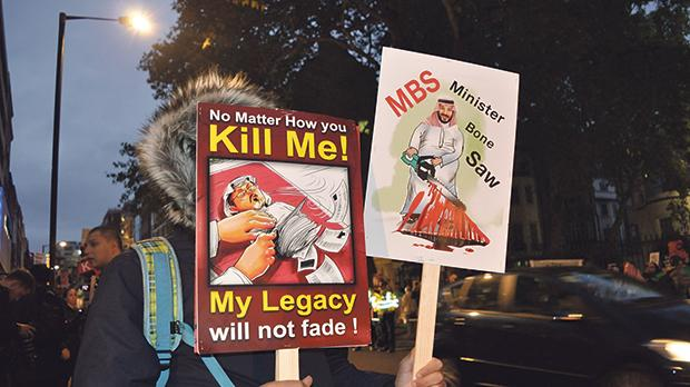 Kill Me! My legacy will not fade.  A call for justice made outside London's Saudi Arabian Embassy. Photo: Katherine Da Silva/Shutterstock.com