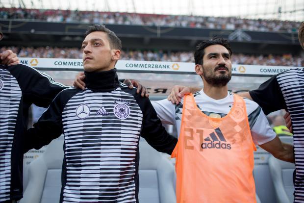 Germany's Mesut Ozil and Ilkay Gundogan before the match.