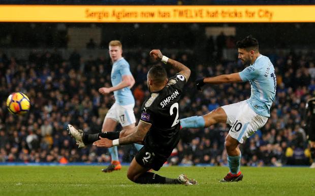 Manchester City's Sergio Aguero scores their fifth goal.