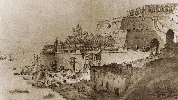 A view by W. Schellinkx of Strada del Salvadore Fuori la Mina, near Pinto Stores, Valletta, where the Pace family lived in the 1780s.