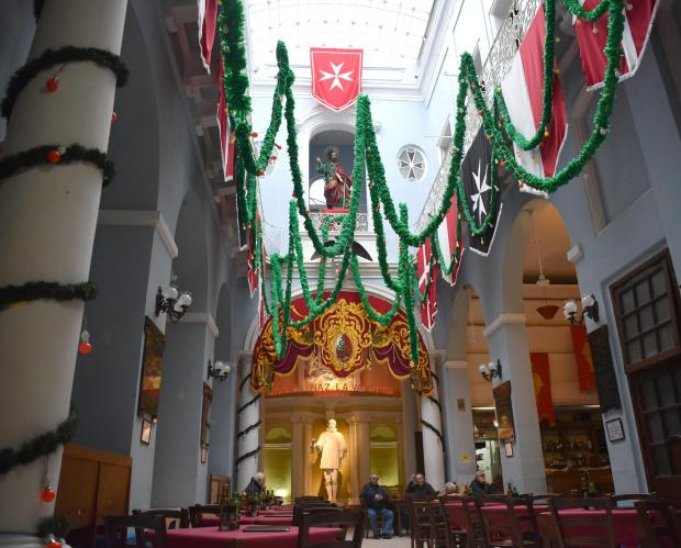 The La Vallette band club is decorated with streamers and banners on January 10, in anticipation for the feast of St Paul in Valletta, which is held on February 10. Photo: Mark Zammit Cordina