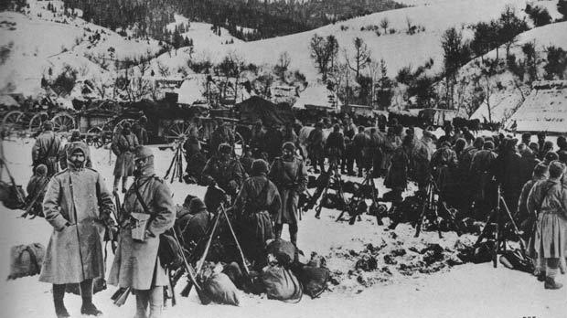 Austro-Hungarian troops set up camp in the Carpetian terrain.