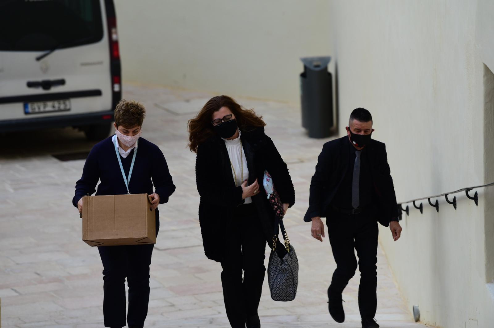 Magistrate Monica Vella (centre) enters the Gozo law courts on Wednesday. Photo: Mark Zammit Cordina