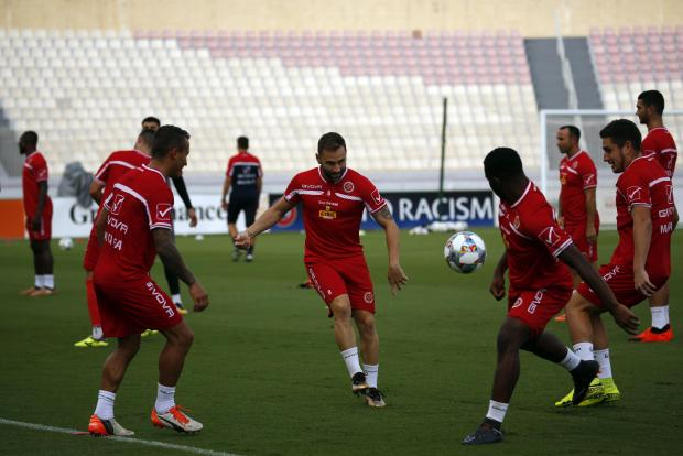 Malta national team players during a training session at the National Stadium. Photo: Darrin Zammit Lupi