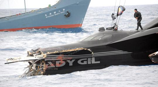 The Sea Shepherd's ship Ady Gil, a wave-piercing boat formerly known as Earthrace, after it was rammed by Japanese whaling vessel Shonan Maru No. 2 (background) in Antarctic waters.