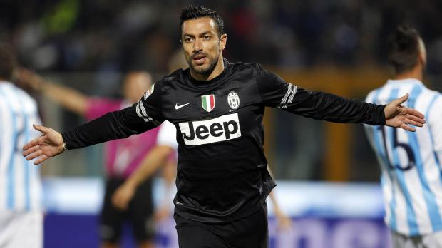 Juventus's Fabio Quagliarella celebrates after scoring against Pescara during their Italian Serie A soccer match at the Adriatico stadium in Pescara. Photo: Giampiero Sposito, Reuters