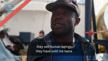 Watch: 'In Libya, they sell human beings. They have sold me twice'    Benjamin, 30, is one of the men rescued by the Alan Kurdi. Video: Sea-Eye/Fabian Heinz