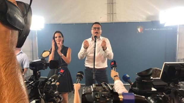 Adrian Delia gives his first speech as PN leader, flanked by his wife. Photo: Mark Zammit Cordina