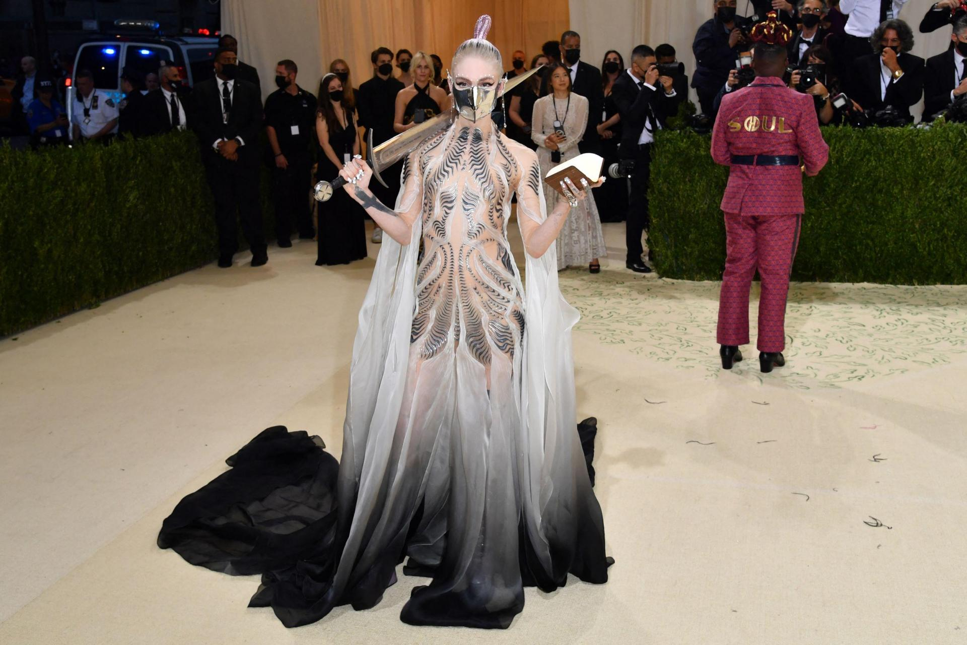 Canadian musician Grimes arrives for the 2021 Met Gala. Photo: Angela Weiss/AFP