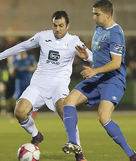 Jacob Borg (left) in action for Finn Harps in the Irish First Division.