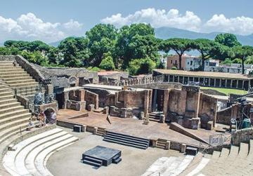 A view of the ruins of the amphitheatre in Pompeii.