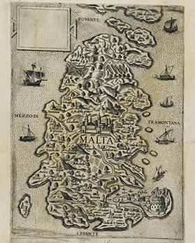 A map dating from between 1551 and 1558 grossly misplaces Fort St Angelo, named Castello. With no space to show it in its proper position in the centre of the east side of the Grand Harbour, it was moved to the open sea.
