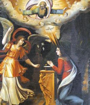 A painting by an unknown artist at the Annunciation chapel in Balzan.