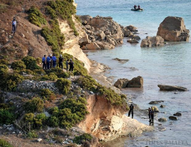 A 52-year-old man from Gudja was critically injured after boulders fell into the sea hitting the boat he was on, in Delimara on August 9. Photo: Chris Sant Fournier