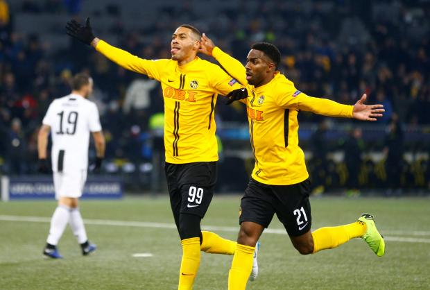 Young Boys' Guillaume Hoarau celebrates scoring their second goal with Ulisses Garcia.