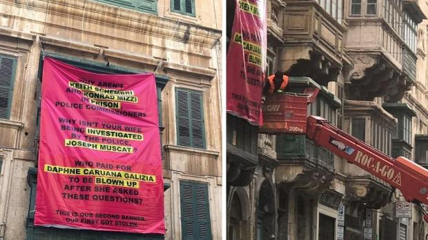 The banner which was pulled down, for the second time, in Valletta.