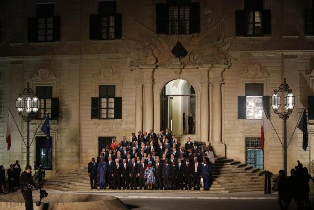 Leaders of the European Union and their African counterparts gather on the steps of the Auberge de Castille, the office of Malta's Prime Minister Joseph Muscat, for the opening ceremony of the Valletta Summit on Migration in Valletta on November 11. Photo: Darrin Zammit Lupi
