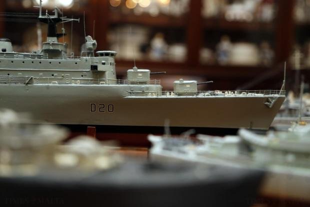 An intricately-detailed wooden scale replica of the Royal Navy ship HMS Fife, built entirely form scratch and crafted by hand, is displayed at the home of retired airline worker and self-confessed military history nut, Dennis Vella, in San Gwann on April 11. Mr Vella says that it takes nearly 200 hours of work to build a single destroyer, the smallest class of vessel in his growing collection, not including the countless hours spent studying plans and poring over old history books. Photo: Darrin Zammit Lupi