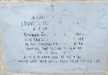A plaque in Salina where the body of Louvain Margaret Wales was found on October 25, 1979.