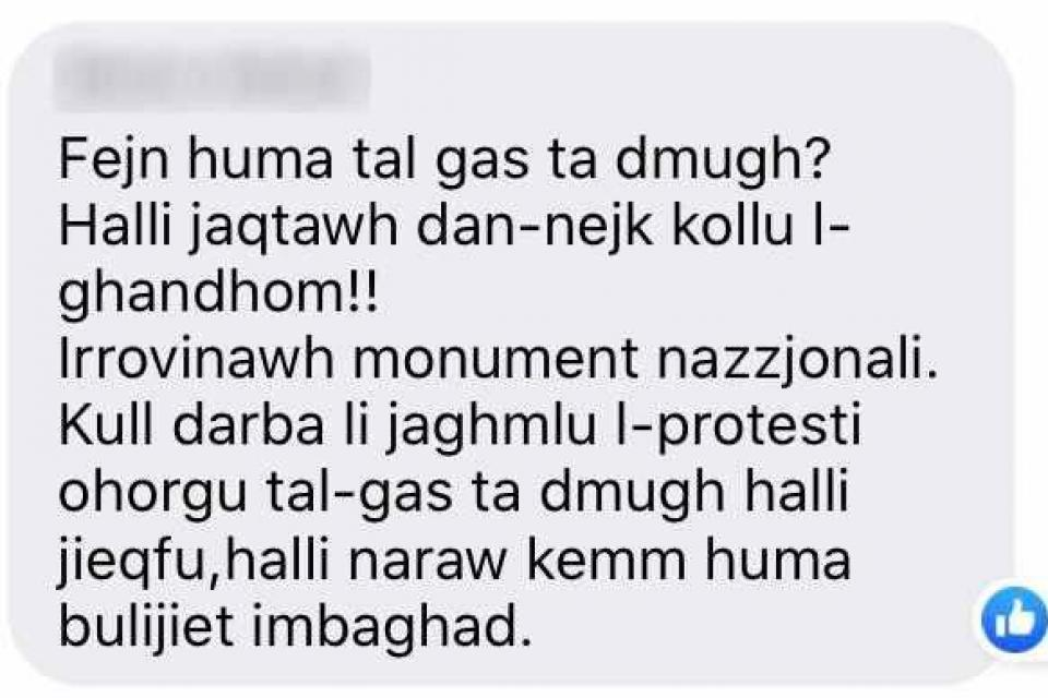One of people commenting called for authorities to use tear gas to disperse activists.
