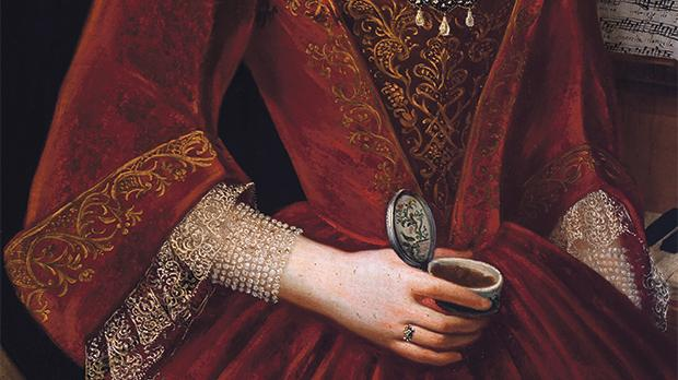 18th-century Maltese lady holding an ornate painted snuff box (detail).
