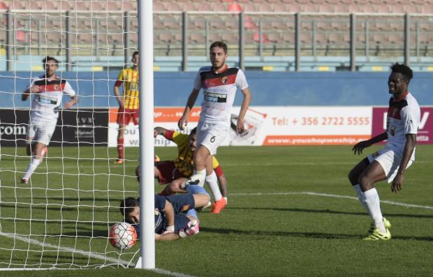 Birkirkara FC'S Gonzalo Malan (centre) puts Birkirkara ahead against Ħamrun Spartans in a match held at Ta Qali Stadium on March 12. Photo: Mark Zammit Cordina