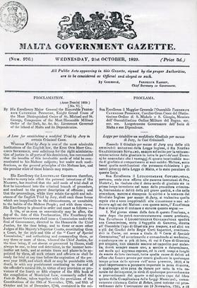 Proclamation VI of 1829, introducing the jury system in Malta in homicide cases.