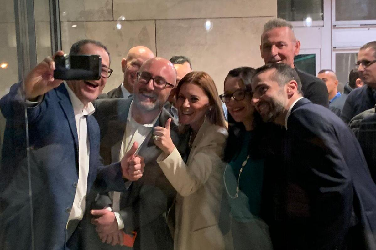 Trapped in parliament, Anthony Agius Decelis, takes a selfie with, from left to right, Parliamentary Secretary Roderick Galdes, Gozo Minister Justyne Caruana, Parliamentary Secretary Julia Farrugia Portelli and Alex Muscat. Photo: Jessica Arena