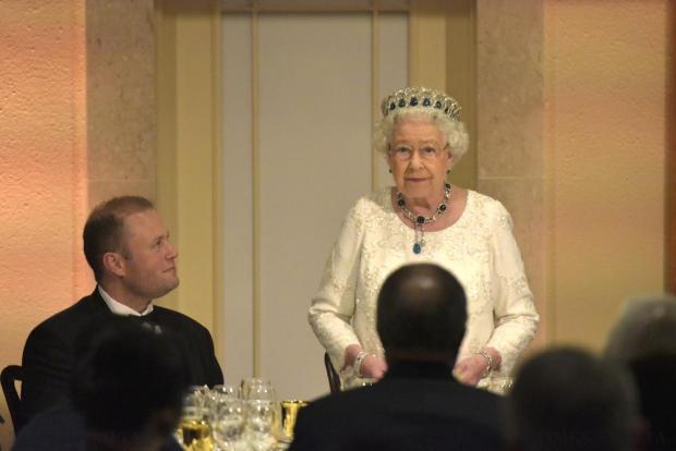 Queen Elizabeth speaks during a dinner at Corinthia Palace in Attard November 27. Photo: Mark Zammit Cordina
