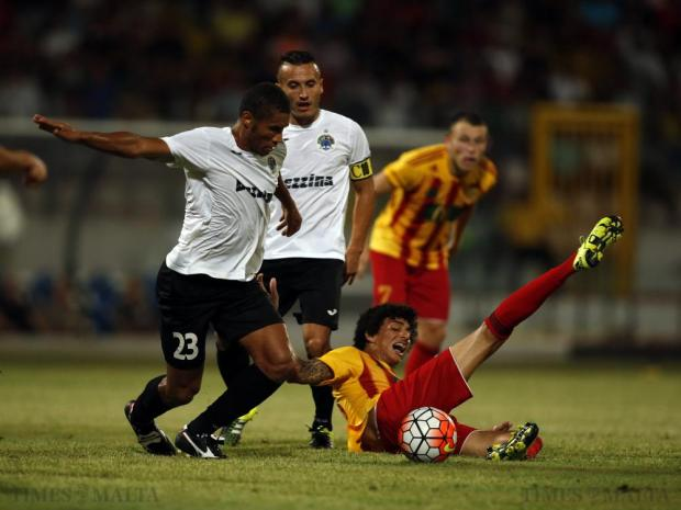 Hibernian's Jorginho seizes possession of the ball as Birkirkara's Marcelina loses his balance during the Super Cup final at the National Stadium in Ta'Qali on August 12. Photo: Darrin Zammit Lupi
