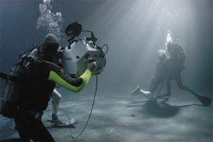 A fight sequence for Largo Winch being filmed in one of the tanks at the Mediterranean Film Studios in Rinella. Photo: Abyss Diving.