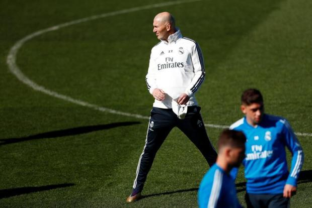 Real Madrid coach Zinedine Zidane during training.