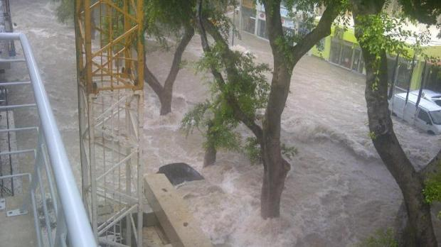 "Rainwater swamps a car in Valley Road, Birkirkara - Picture Steve Cachia - <a href=""mailto:mynews@timesofmalta.com"" target=""_blank"">mynews@timesofmalta.com</a>"