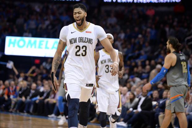 New Orleans Pelicans forward Anthony Davis (23) reacts after hitting a three-point shot against the Oklahoma City Thunder during the fourth quarter at Chesapeake Energy Arena. Photo Credit: Mark D. Smith-USA TODAY Sports