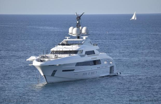 The super yacht Galactica Star is seen anchored off Selmun Bay on August. 24. Photo: Mark Zammit Cordina